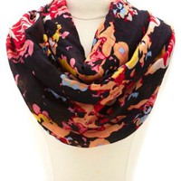 Abstract Floral Print Infinity Scarf by Charlotte Russe - Multi