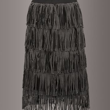 Shake It Up Black Studded Fringe Pencil Skirt