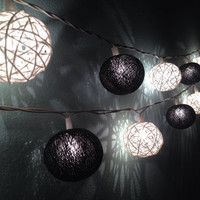 Cotton ball string lights for home decor,party decor,wedding patio,20 pieces indoor rope&ball string lights bedroom fairy lights,black,white