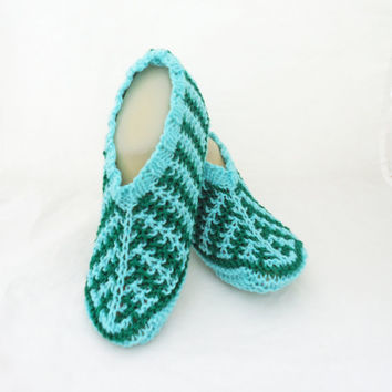 Knitted Socks / Slippers inAqua Blue, Hand Knitted Women Winter Home Socks / Slippers, UK Seller