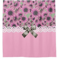 Pink Sunflowers Shower Curtain
