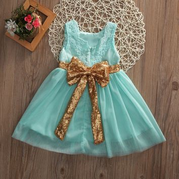2017 new arrival Flower Princess Sequins Girl Dress Toddler Wedding Fancy Party Tutu Dresses 2-7years Kids girls clothes