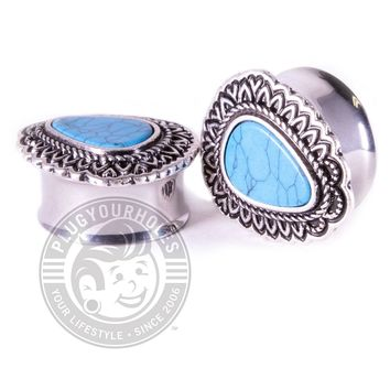 Tear Drop Turquoise Center Double Flared Steel Plugs