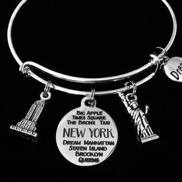 New York Jewelry Expandable Charm Bracelet Empire State Building Statue of Liberty Adjustable Silver Bangle One Size Fits All Gift