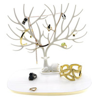 PuTwo Lint Drawer Jewelry Holder/Organizer Jewelry Tree, White Deer, 0.49 Pound