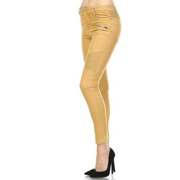 Mustard Moto Leggings with zippers