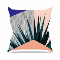 "Cafelab ""Summer Geometry "" Blue Coral Outdoor Throw Pillow"