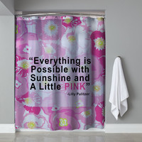 "Rare Lilly Pulitzer Quote Everything Is Possible Design Shower Curtain 60""x72"""