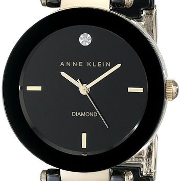 Anne Klein Women's Black Round Ceramic Diamond Watch