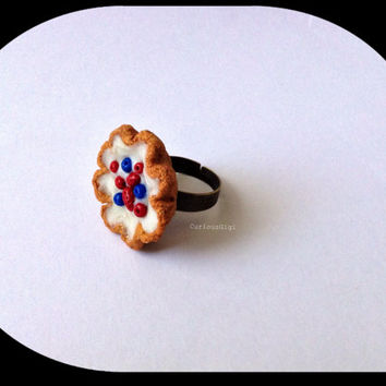 Fruit tart adjustable ring , all American deserts , summer deserts , hand sculpted clay mini fruit tart ,