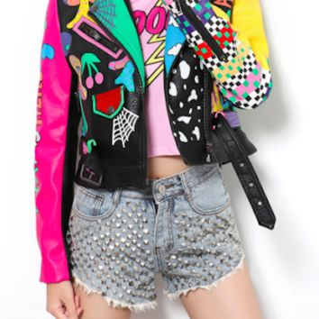 Printed PU Leather Fashion Jacket