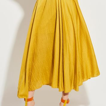 clocolor Mid-Waist Ankle-Length Plain Expansion Skirt