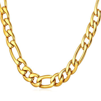 "9MM Men Necklace 18K Yellow Gold Plated Stainless Steel Figaro Chain  [18"", 22"", 26"", 28"", 30""]"