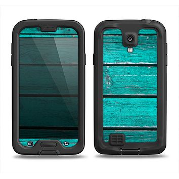 The Trendy Green Washed Wood Planks Samsung Galaxy S4 LifeProof Fre Case Skin Set