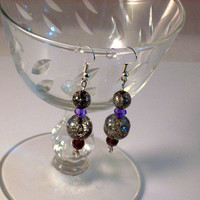 BOLD - Smokey Crackle with Purple Crystal Wire Wrapped Dangle Drop Earrings. Earrings that make a statement! Natural Silver Aluminum Wire!