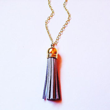 SMALL Tassel necklace, gray tassel necklace, tassel jewelry, colorful jewelry, gray necklace, layering necklace, statement necklace