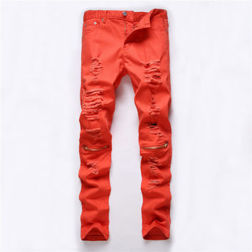 Men Ripped Holes Zippers Casual Slim Stretch Club Pants [6544718851]
