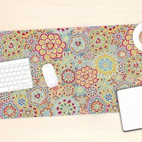 "KESS InHouse Julia Grifol ""My Happy Flowers in Red"" Office Desk Mat, Blotter, Pad, Mousepad, 13 x 22-Inches"