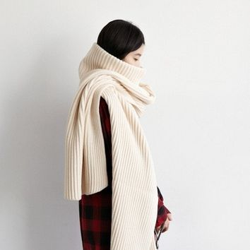 2016 winter 4 Color Women's TurtleNeck Warm Shawl Stretched Long Scarf For Women