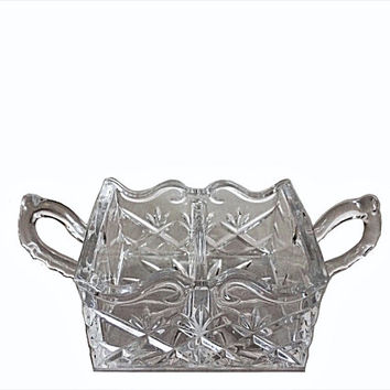 Crystals Sugar Caddy, Vintage Crystal, Crystal Sugar Bowl, Crystal, Glass Sugar Caddy, Crystal Starburst, Starburst Pattern, Sugar Server