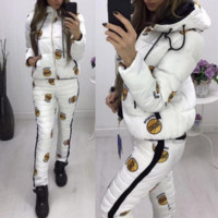 Fashion Casual Keep Warm Long Sleeve Pants Coat Down jacket Two Piece Set White