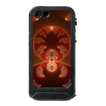 Luminous abstract modern orange red Fractal Waterproof iPhone SE/5/5s Case