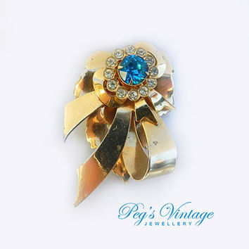 Vintage Brass Bow, Blue Rhinestone Brooch, Antique Ribbon Bow Pin