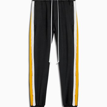 tri track pant / black + yellow + ivory