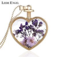 Collares Purple Dry Flower Heart Crystal Glass Pendant Necklace Golden Necklace For Best Friendship Fine Jewelry