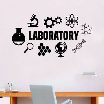 Laboratory Science  Quote Decal Sticker Wall Vinyl Art Home Room Decor Teacher School Classroom Work Job Smart Learn Chemist