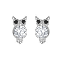 .925 Sterling Silver Rhodium Plated Owl Earring