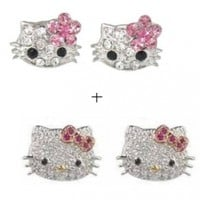 """Wrapables X-small 1/4"""" Pink Flower Kitty Crystal Stud Earrings + Adorable Silver Plated Kitty Crystal CZ Stud Celebrity Teen Earrings"""