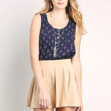 Suede Mini Flare Skirt