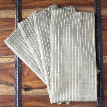 Cocoa Stripes Handwoven Cotton Napkins Set of 4