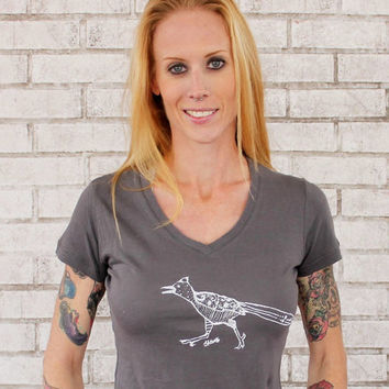 Roadrunner V-neck Tshirt, Screenprinted Bird Shirt, Hand Printed, Vintage Style Cotton Short Sleeved T Shirt, Womens Clothing, Graphic Tee