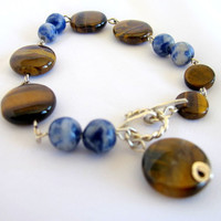 Tribal gemstone bracelet, blue sodalite and tigers eye tennis bracelet, gift under 40