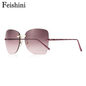 FEISHINI FDA Standard  Classic Brand Luxury 2017 Gradient Sunglasses Oversized Women Rimless Butterfly UV400 Metal Pattern Leg