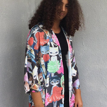 Cats Kimono Cardigan, Festival Music Top, Summer Jacket, Boho Beach Kimono, Women Summer Top, Boho Chic Kimono,  Beach Cover Up, Women's Top