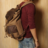 New Unisex Genuine Leather and Canvas Backpack Rucksack Bag 3 Colors U.K