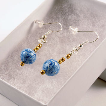 Blue, White, Gold Round Sky Earrings Polymer Clay