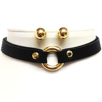 FAUX LEATHER CHOKER RING NECKLACE WITH METAL BALL POST EARRINGS - BLACK/GOLD