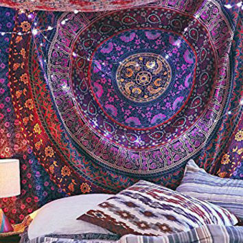 USA Hippie Girl in Crown Print Tapestry Room Wall Hanging Psychedlic Tapestries