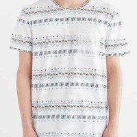 BDG Geo Stripe Standard-Fit Pocket Tee - Urban Outfitters
