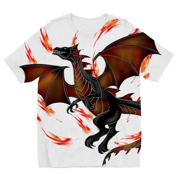 Red Fire Breathing Dragon Designs by Amitie Kids Sublimation TShirt
