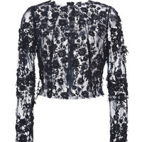 Fringed Floral Guipure Long Sleeve Top by Katie Ermilio - Moda Operandi