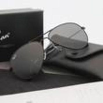 ESBON Ray-Ban Aviator RB 3025 Sunglasses Black Frame Black Mirrored Lens