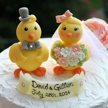 Love bird chick wedding cake topper, customizable, spring wedding
