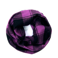 Purple Plaid Scarf Toddler Scarf Girl Scarf Plaid Flannel Scarf Childs Winter Scarf Boy Scarf Unisex Scarf Purple Black Ready to Ship