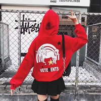"""Vetements"" Women Fashion Velvet Unicorn Letter Pattern Print Loose Long Sleeve Hooded Sweater Hoodie Tops"