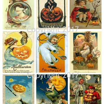 Printable Vintage Halloween Cards Collage Sheet 103.
